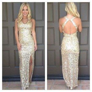 DESIGNER Gold Glitter Sequin Gown Long Maxi Dress